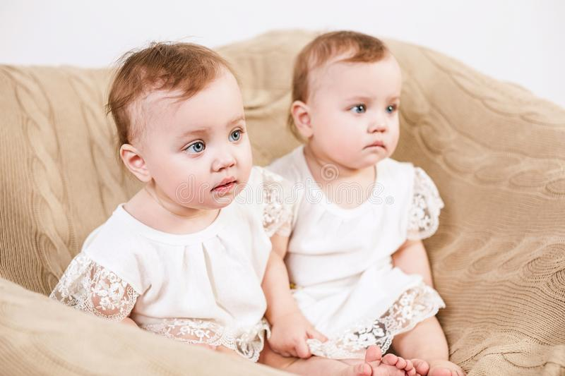 Download Two Adorable Baby Twins Sitting In The Chair. Stock Photo   Image  Of Little