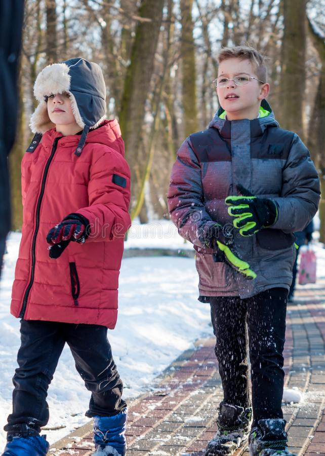 Two adorable boys in winter park stock images