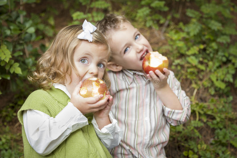 Two Adorable Children Eating Apples Outside royalty free stock photography