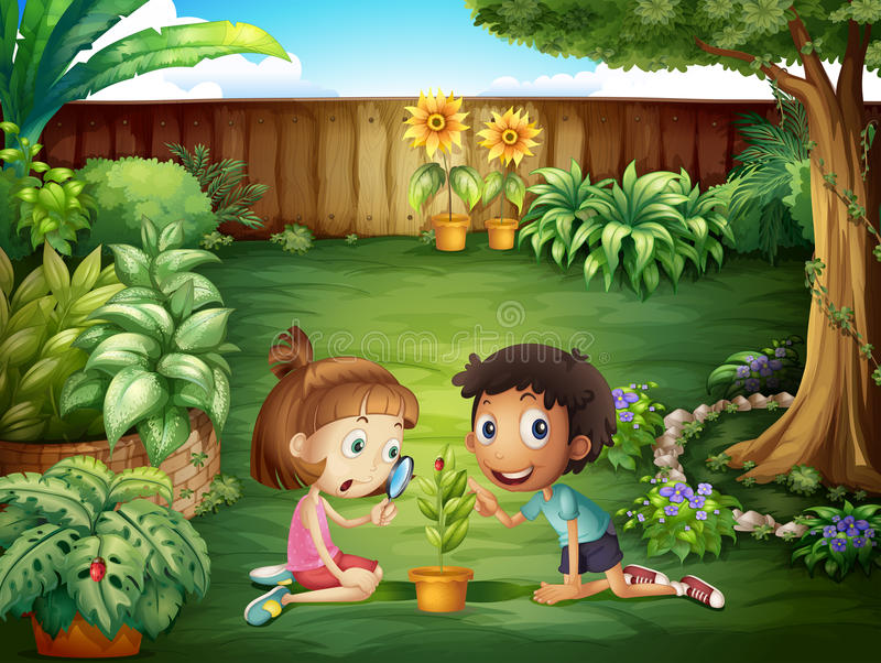Two adorable kids studying the ladybug at the yard. Illustration of the two adorable kids studying the ladybug at the yard vector illustration