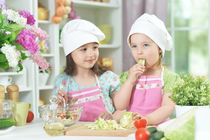 Two adorable little girls in aprons preparing delicious salad royalty free stock images