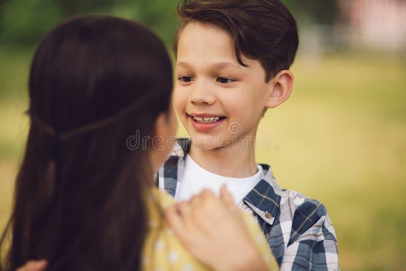 Little kids hugging. royalty free stock photo