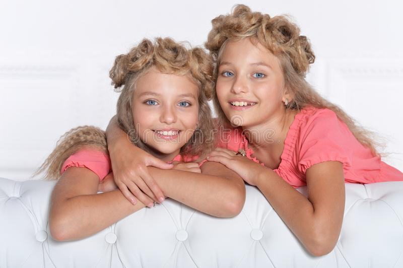 Two adorable twin sisters in beautiful pink dresses royalty free stock photo