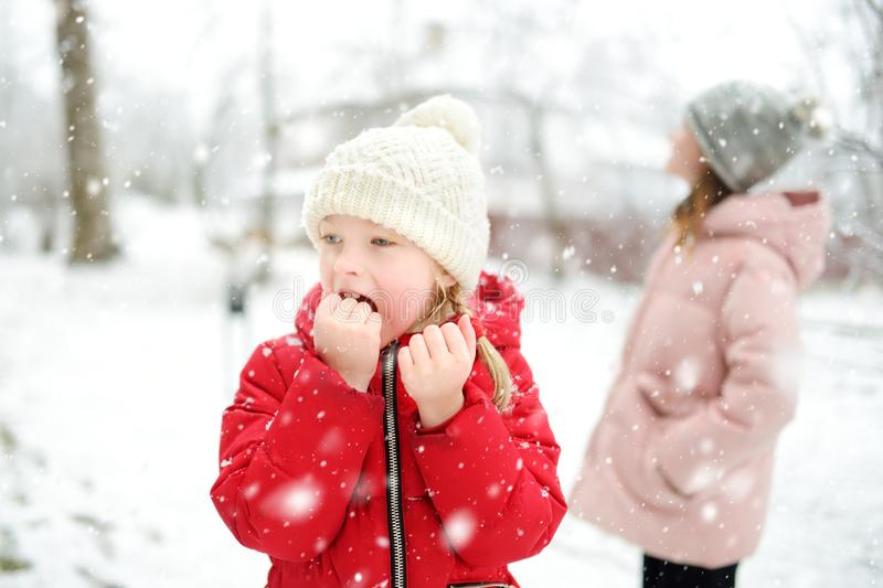Two adorable young girls having fun together in beautiful winter park. Cute sisters playing in a snow stock photo