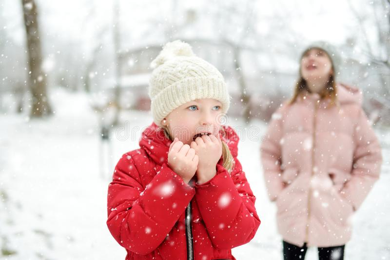 Two adorable young girls having fun together in beautiful winter park. Cute sisters playing in a snow royalty free stock images