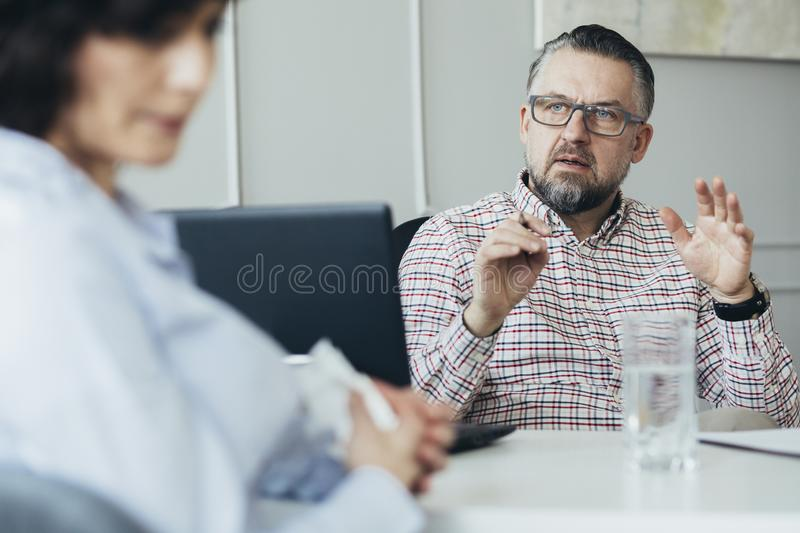 Two adults talking about their problems. With keeping life balance royalty free stock photo