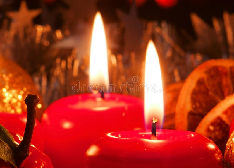Two Advent candles . Two Advent candles and christmas wreath. Christmas decoration royalty free stock photo
