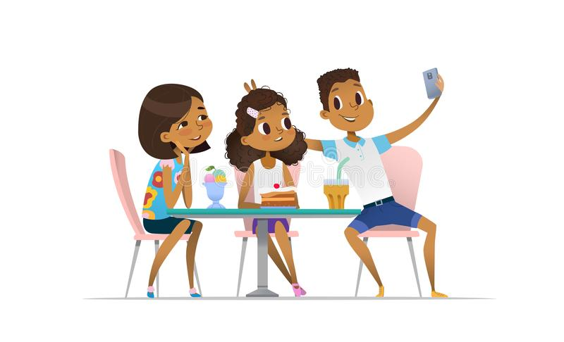 Two African-American girls and boy meeting at the cafe a and taking selfie. Teenagers friends at the restaurant taking. Photo on phone. Smiling students having royalty free illustration