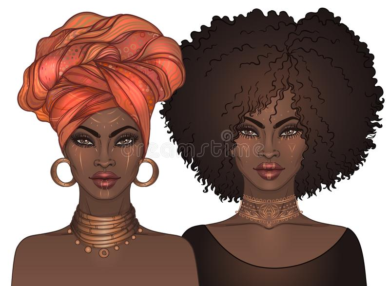 Two African American pretty girls with glossy lips. Vector Illus royalty free illustration