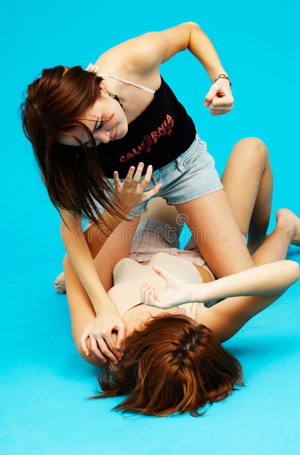 Two aggressive girls. royalty free stock images