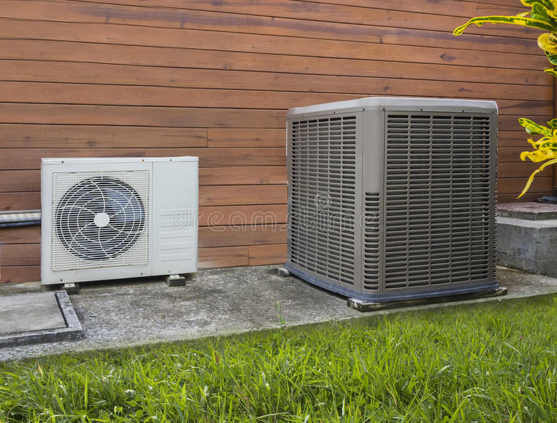 Two air conditioning heat pump stock image