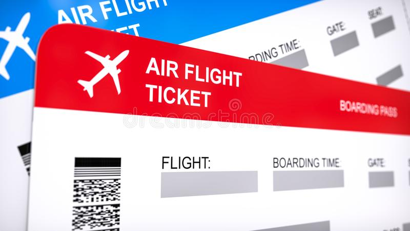 Two airline, air flight tickets. Red and blue boarding pass, close up 3d renderi on white background. Two airline, air flight tickets. Red and blue boarding stock illustration