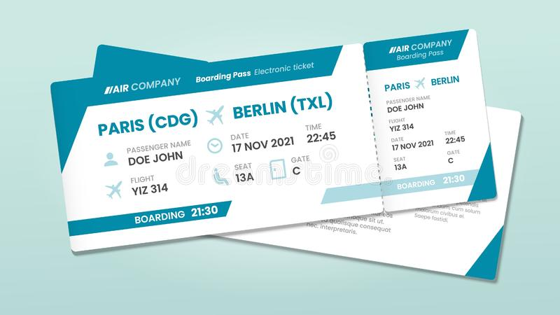 Two airline tickets. Airplane boarding ticket with passenger name, airlines flight invitation and airplanes pass vector. Two airline tickets. Airplane boarding stock illustration