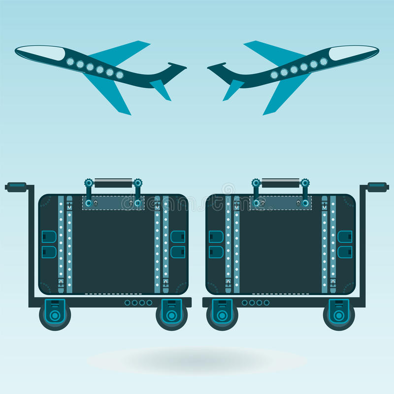 Two airplane taking off, Luggage for travel. royalty free illustration