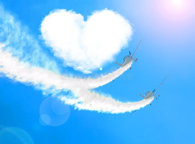 Two airplanes as a loving couple in love fly around a cloud of hearts royalty free stock photos