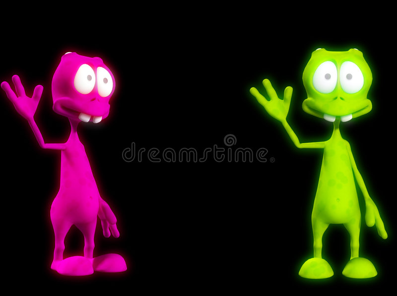 Download Two Alien's Waving 3 stock illustration. Image of expression - 3514498