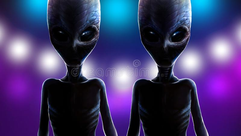 Two alien twins on background of lights spaceship. stock illustration