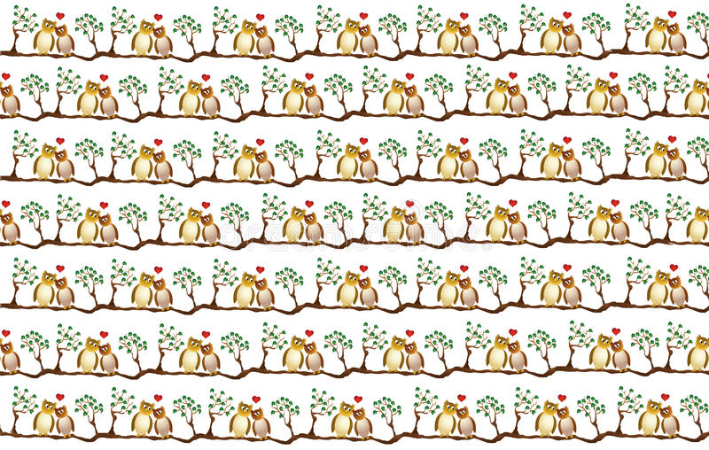 Two amorous owl on a branch, wrapping paper design. With repeating vector illustration