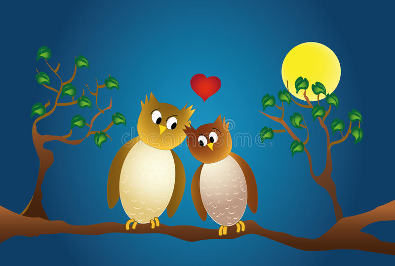 Two amorous owl sitting on a branch, at night. Two amorous owl sitting on a branch, moonlight and love heart royalty free illustration