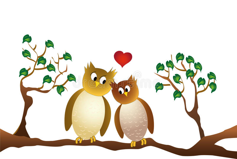 Two amorous owl sitting on a branch, white background. Two amorous owls sitting on a branch, on white background royalty free illustration