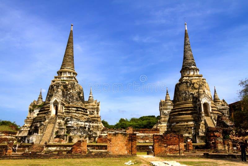 Two ancient pagoda with sky. Two ancient pagoda at Wat Phra Sri Sanphet temple, Ayutthaya, Thailand stock photos