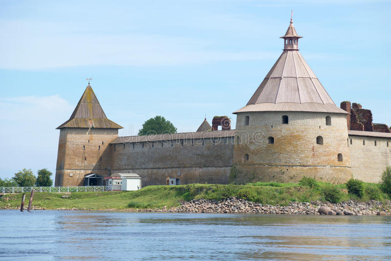 Two ancient towers Golovin and Sovereign on a summer day. Oreshek fortress stock photo