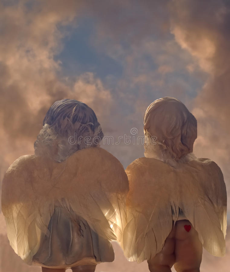 Download Two angels stock image. Image of dear, charming, cloud - 11961277