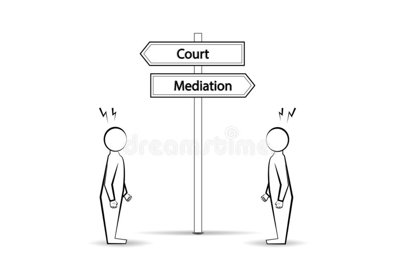 Two angree men and waymark court mediation isolated on white background, horizontal vector stock illustration