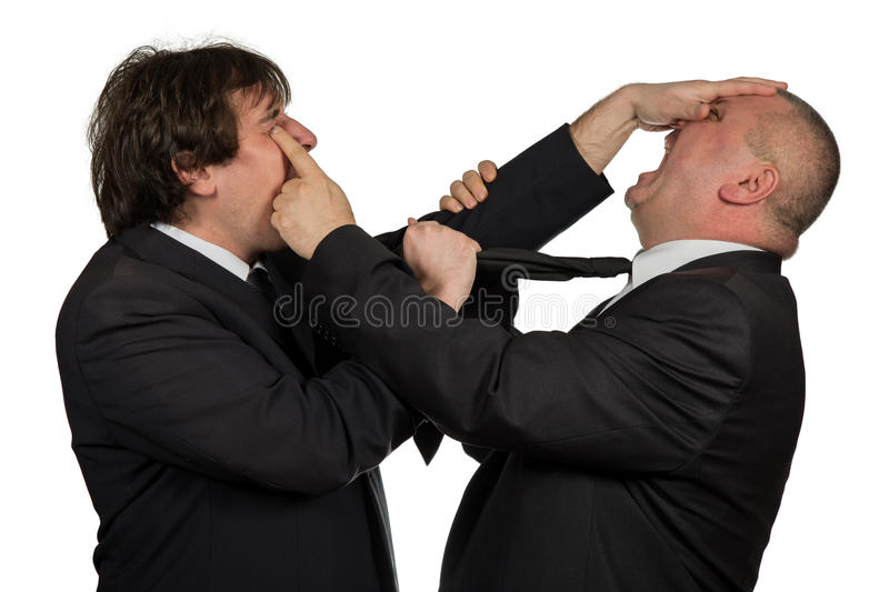 Two angry business colleagues during an argument, isolated on white background royalty free stock photography