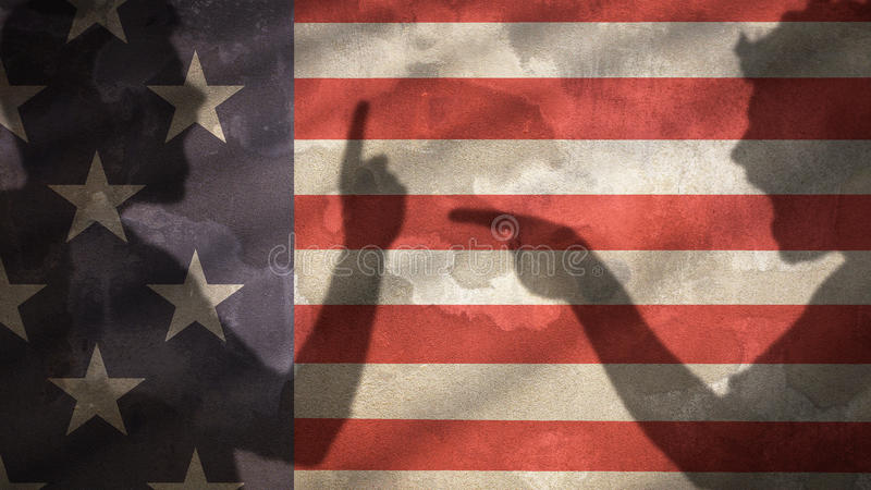 Two Angry Men Shadow Screaming at Each Other. Usa Flag. Two Angry Men Shadow Screaming at Each Other. Usa Flag Background royalty free stock photos