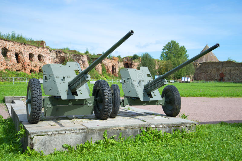 Two anti-tank guns during the Second world war in the fortress Oreshek. A fragment of the memorial to the defense of the fortress. SHLISSELBURG, RUSSIA - AUGUST stock photo