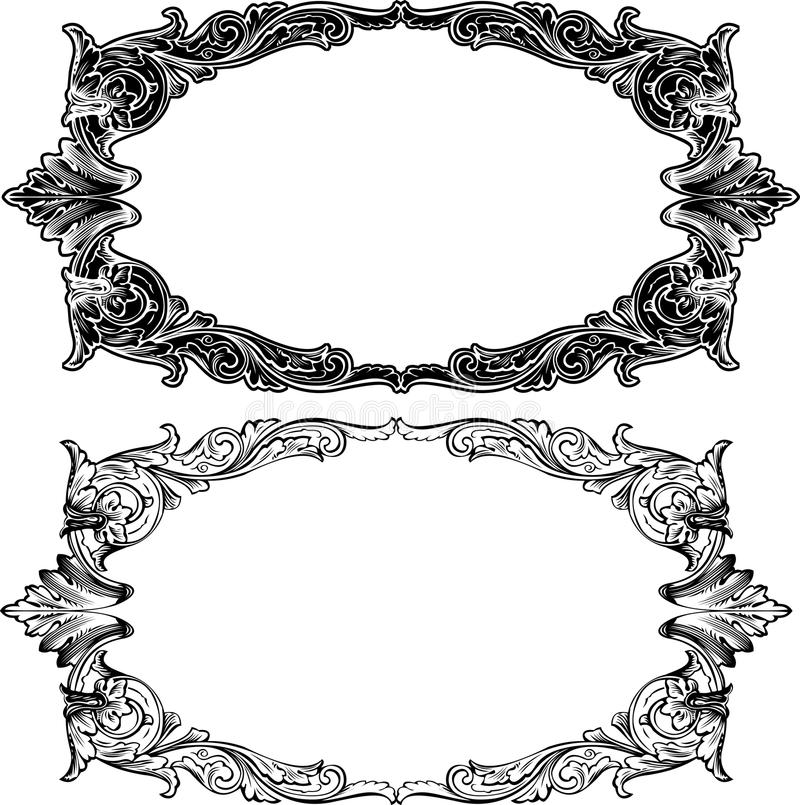 Two Antique Frame Engraving. Scalable And Editable Vector Illustration stock illustration