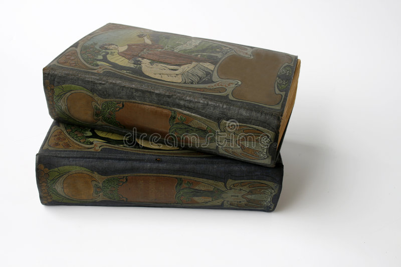 Two antique jugendstil books. Two antique books with beautiful illustrated jugendstil covers royalty free stock photos