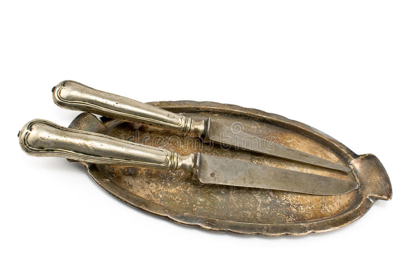 Download Two Antique Table Knifes On Tray Stock Image - Image: 26276133