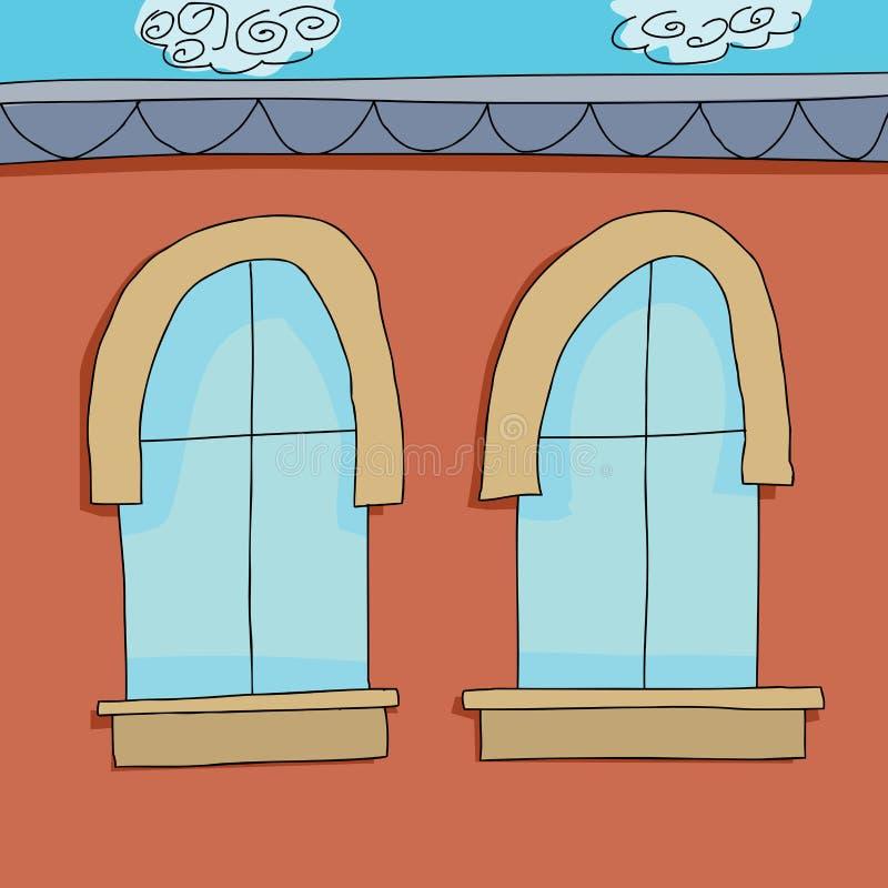 cartoon apartment two apartment windows stock vector image 42804562
