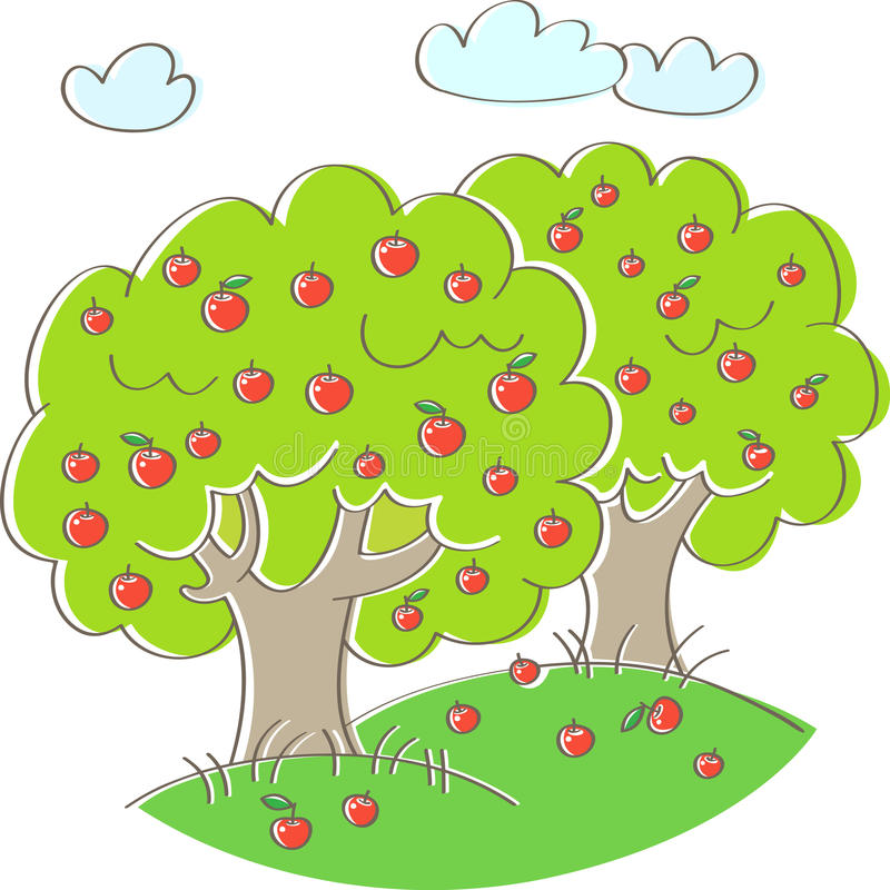 Two apple trees. With red ripe apples on the green grass royalty free illustration