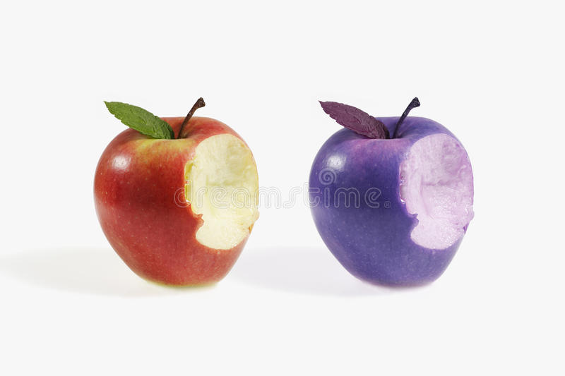Two apples. Comparative between two different apples stock photos