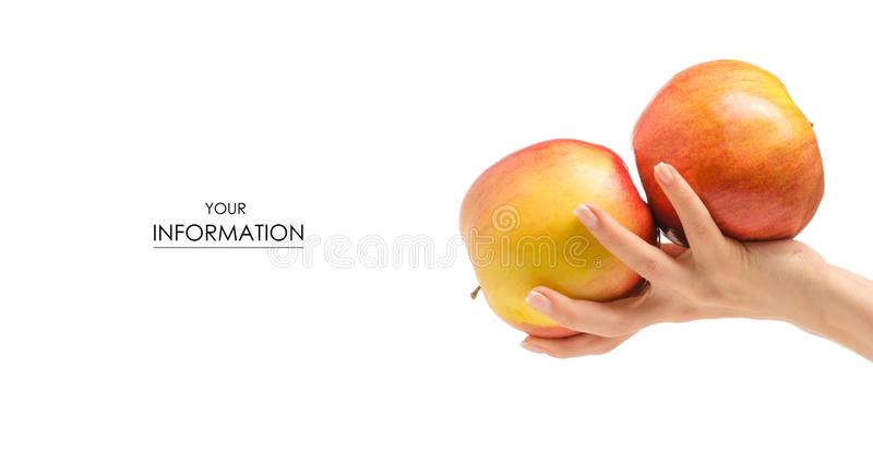 Two apples in hand pattern stock photography