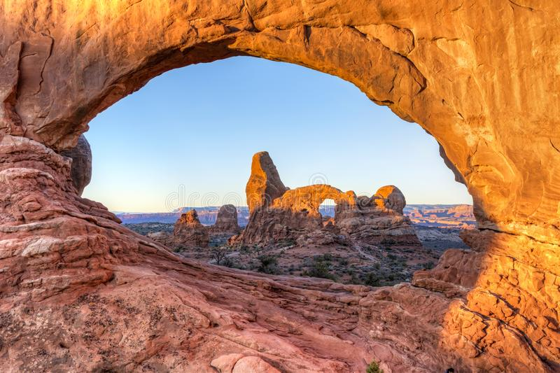 Two Arches Sunrise royalty free stock image