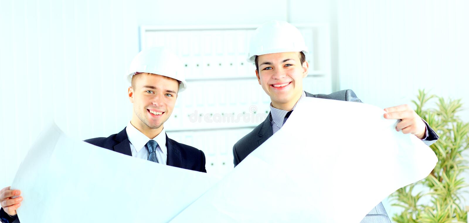 Two architects discussing new project stock photography