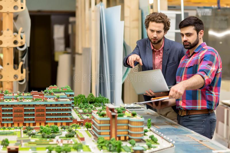 Discussing new buildings stock photo