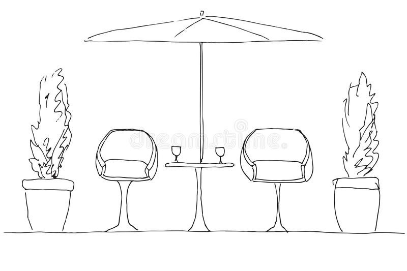 Two armchairs and a table. Large folding umbrella. Hand drawn stock illustration