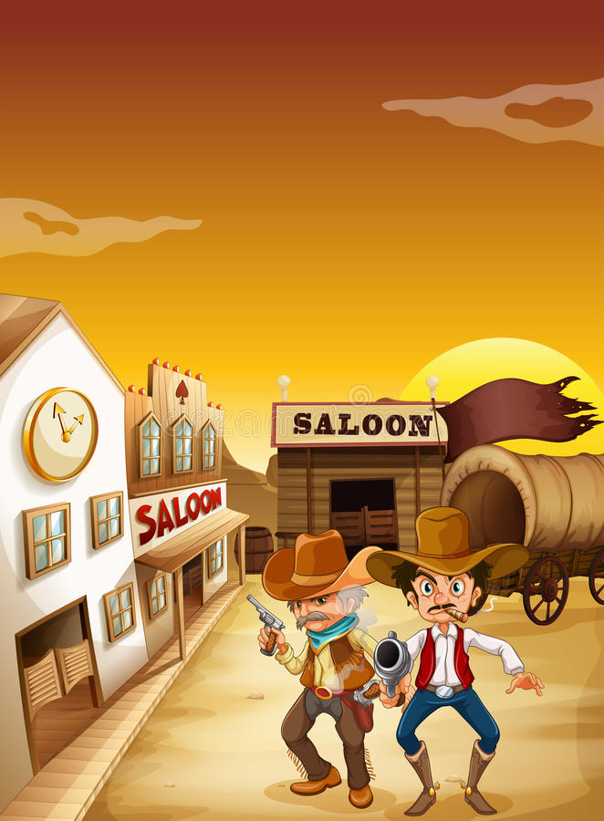 Two armed men standing outside the saloon