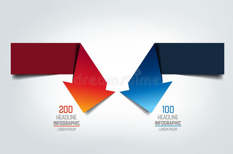 Two arrows in oposite direction turning into right engle infographic, chart, scheme, diagram. Vector illustration royalty free illustration