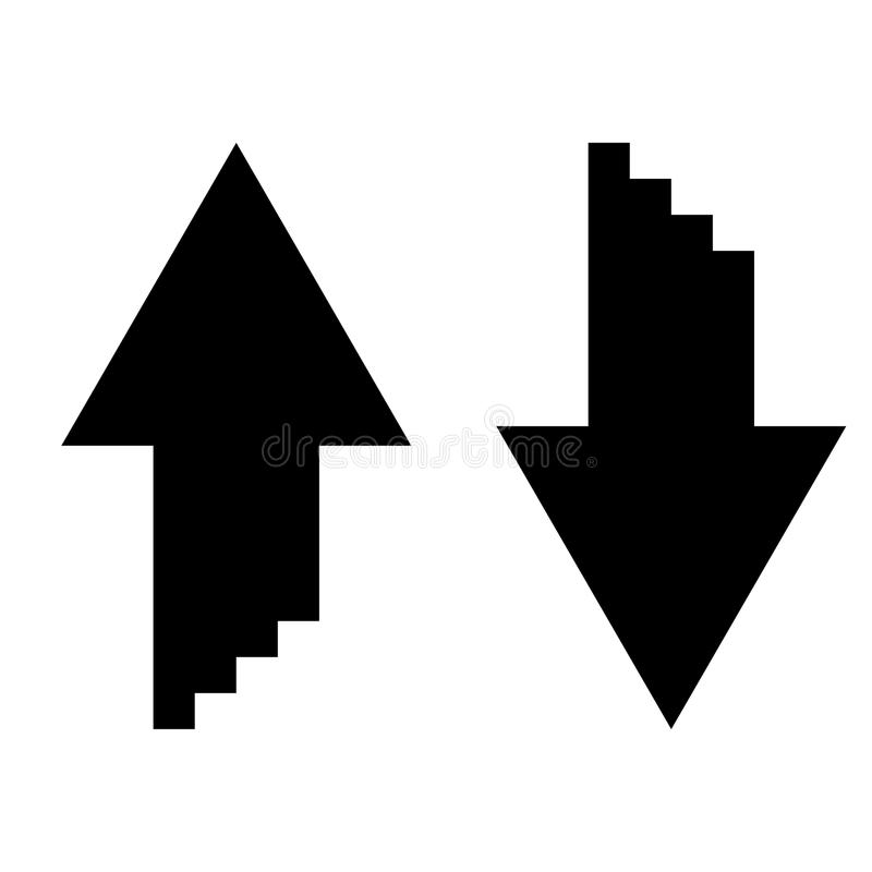 Two arrows with sumulation 3d effect for upload and download icon black color illustration flat style simple image royalty free illustration