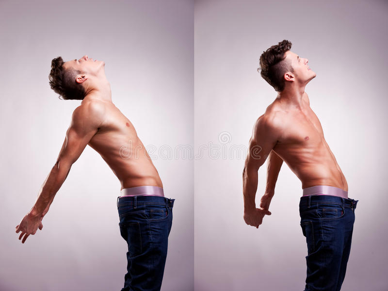 Two artistic portraits of young topless man royalty free stock photo