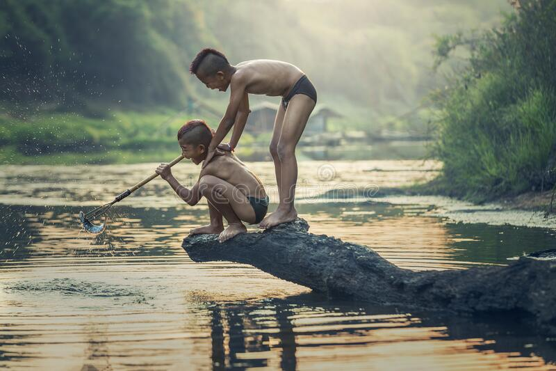 Two asian boys fishing royalty free stock image