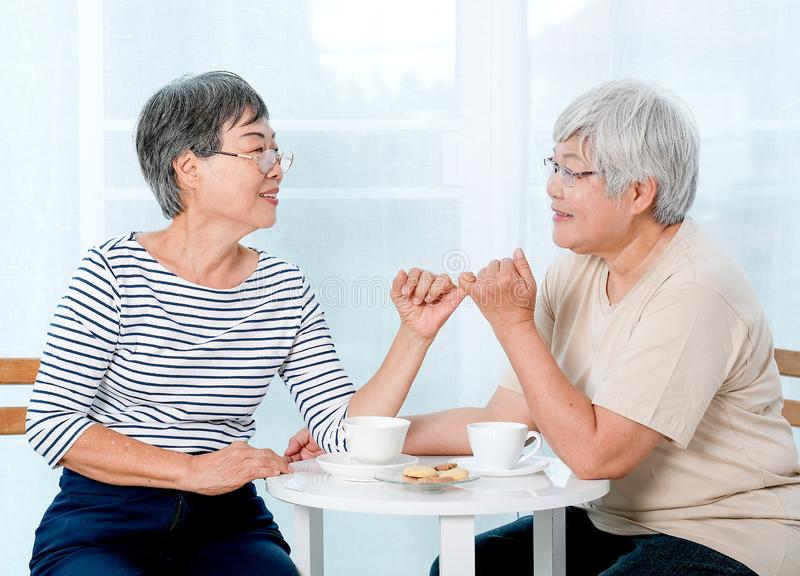 Two Asian elderly women hook each others little finger together with smiling in front of balcony in the house stock images