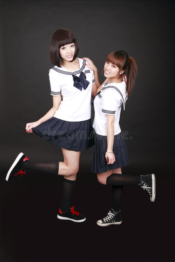 Download Two Asian female students stock image. Image of chinese - 12875659