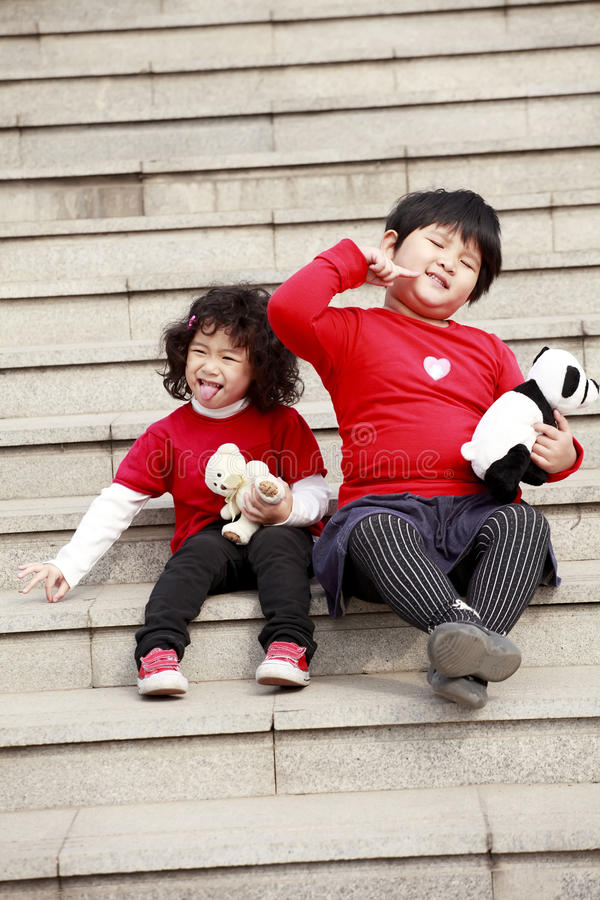 Two Asian little girls posing